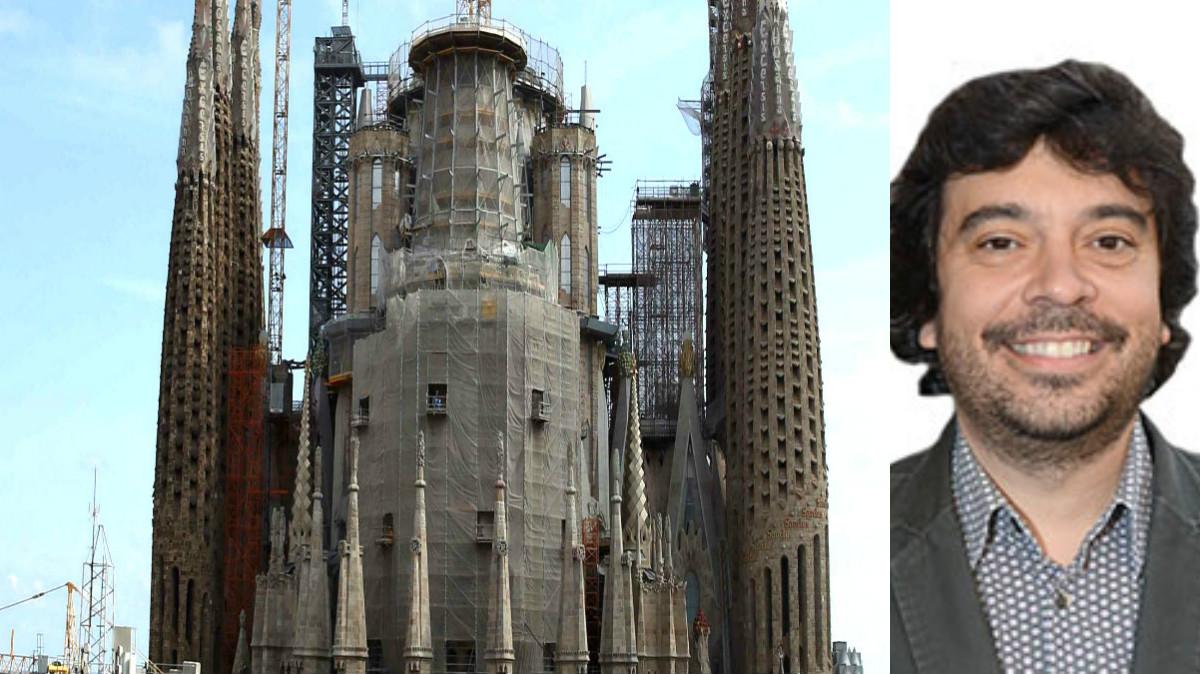 Imagen de la Sagrada Familia y del concejal socialista Dani Mòdol (Foto: Efe).