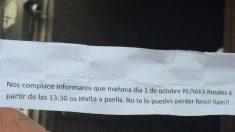 Invitación de una inmobiliaria pegada a Ferraz ofreciendo paella. (Foto: Nuria Val)