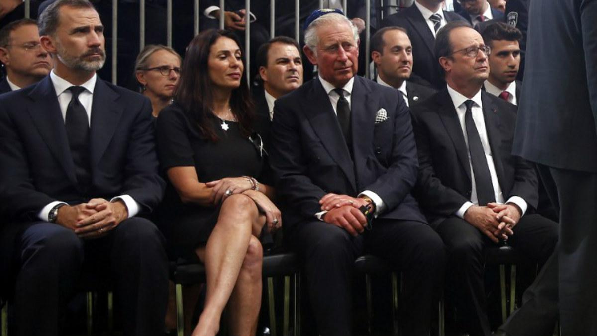De izquierda a derecha: el monarca español Felipe VI; la Ministra de Cultura y Deporte israelí, Miri Regev; el Príncipe Carlos de Inglaterra; y Presidente de Francia, Francois Hollande. AFP