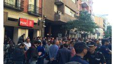 Sede del PSOE en la calle Ferraz, durante el Comité Federal que supuso la caída de Sánchez.