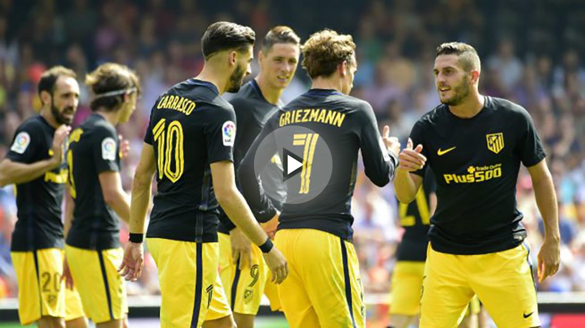 Los jugadores del Atlético celebran el gol de Griezmann. (AFP)