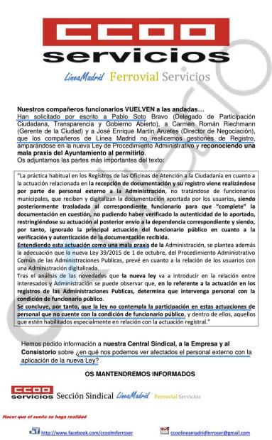 Carta de CCOO a sus filas. (Clic para ampliar)