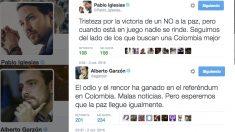 Tuits de Pablo Iglesias y Alberto Garzón sobre el plebiscito en Colombia.