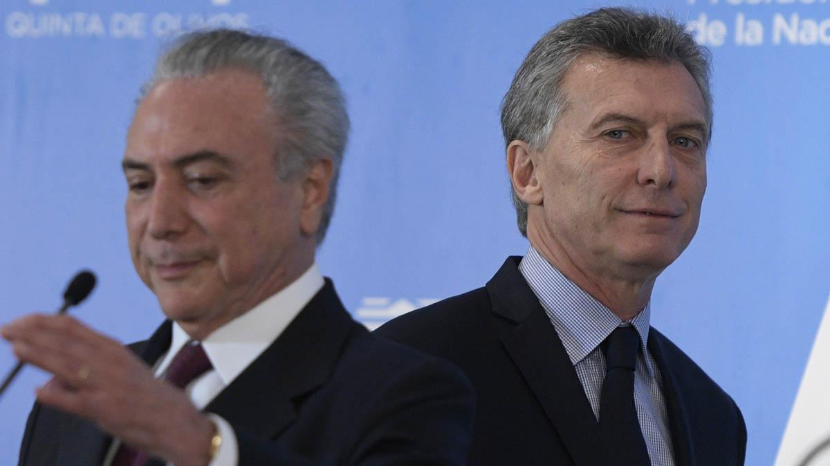 Mauricio Macri y Michel Temer (AFP).