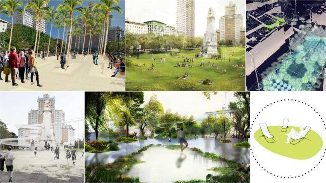 Un oasis con palmeras, molinos o una pradera: los proyectos más locos de Carmena para Plaza de España