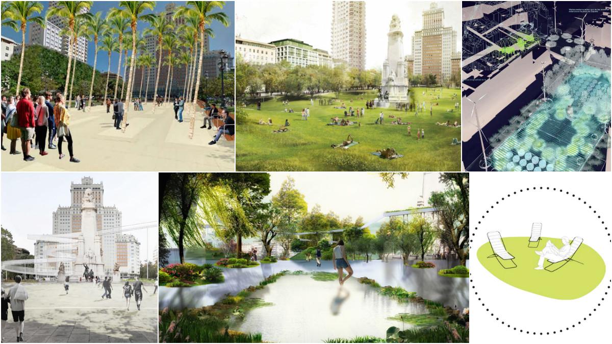 Proyectos seleccionados por Ahora Madrid para Plaza España. (Fotos: Decide Madrid)
