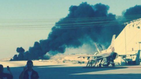 Pista de aterrizaje de la base aérea de Ramon, en el sur de Israel, tras el accidente. (TW)