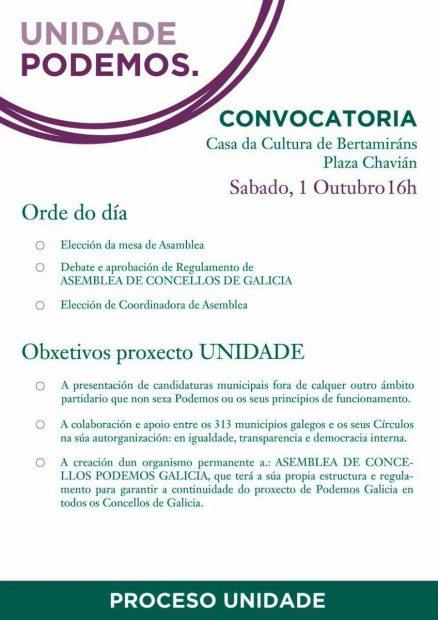 Convocatoria de la asamblea de Podemos Galicia en Ames (La Coruña).