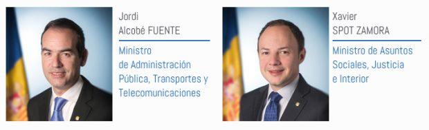 El ministro de Administración Pública de Andorra, Jordi Alcobé y el ministro andorrano de Justicia, Xavier Spot (Foto: Gobierno de Andorra).