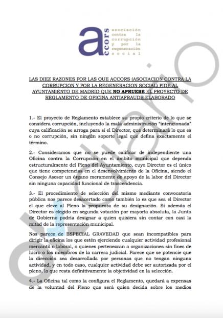 Carta de ACORS a Manuela Carmena. (Clic para ampliar)