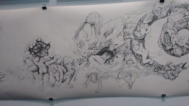 Dibujo a lápiz de la exposición de cómic. (Foto: OKDIARIO)