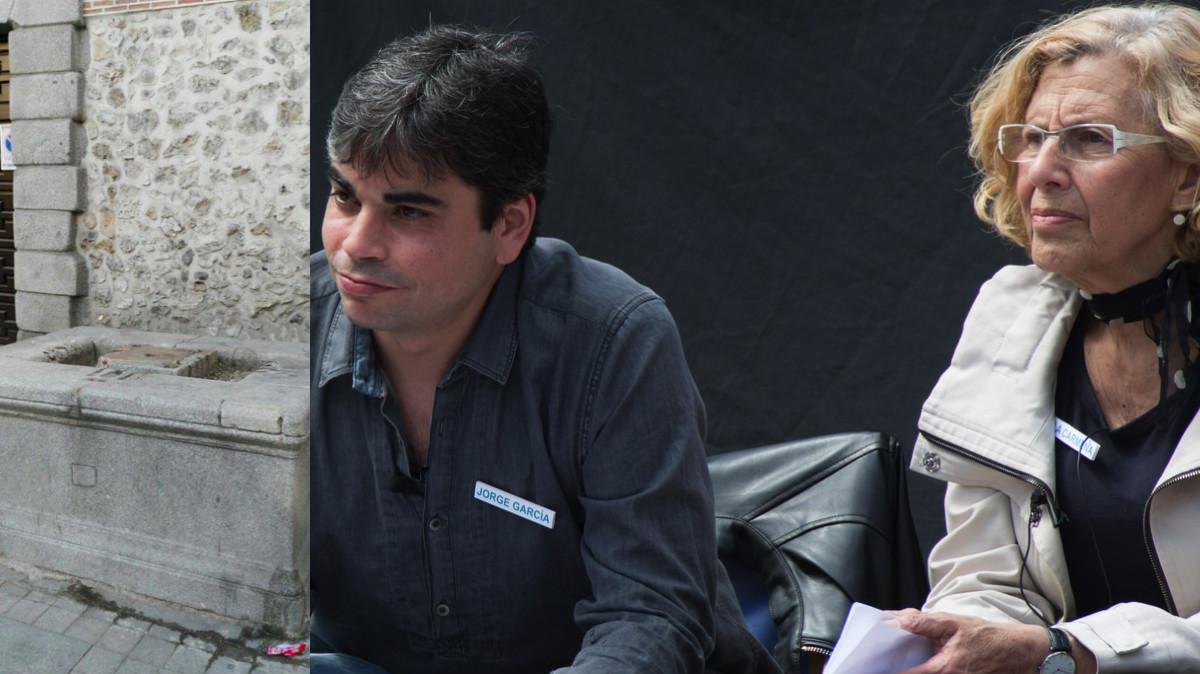 La fuente y Jorge García Castaño haciendo campaña con Manuela Carmena. (Fotos: TW / AM)