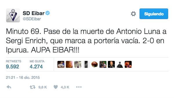 El tuit del Eibar fue publicado el 16 de diciembre de 2015.