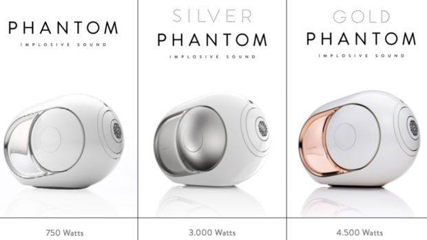 Los tres modelos del altavoz Phantom. DEVIALET
