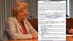 La alcaldesa junto a la denuncia por regular okupaciones. (Foto Madrid)