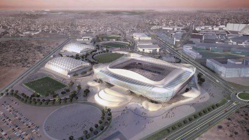 Una maqueta de los estadios de Qatar 2022. (Getty)