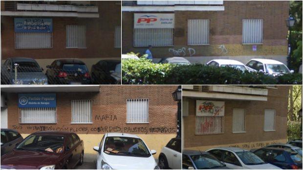 Diferentes pintadas desde 2008 en la sede. (Fotos: GM)