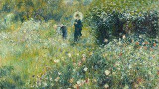 Mujer con sombrilla en un jardín. (Renoir, 1975)