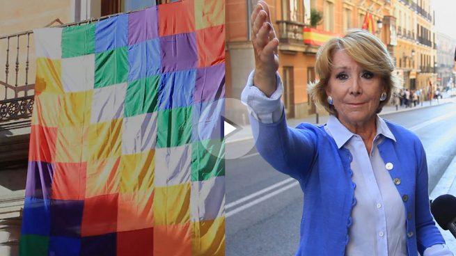 Carmena pone una bandera indígena más grande que la española en un edificio municipal