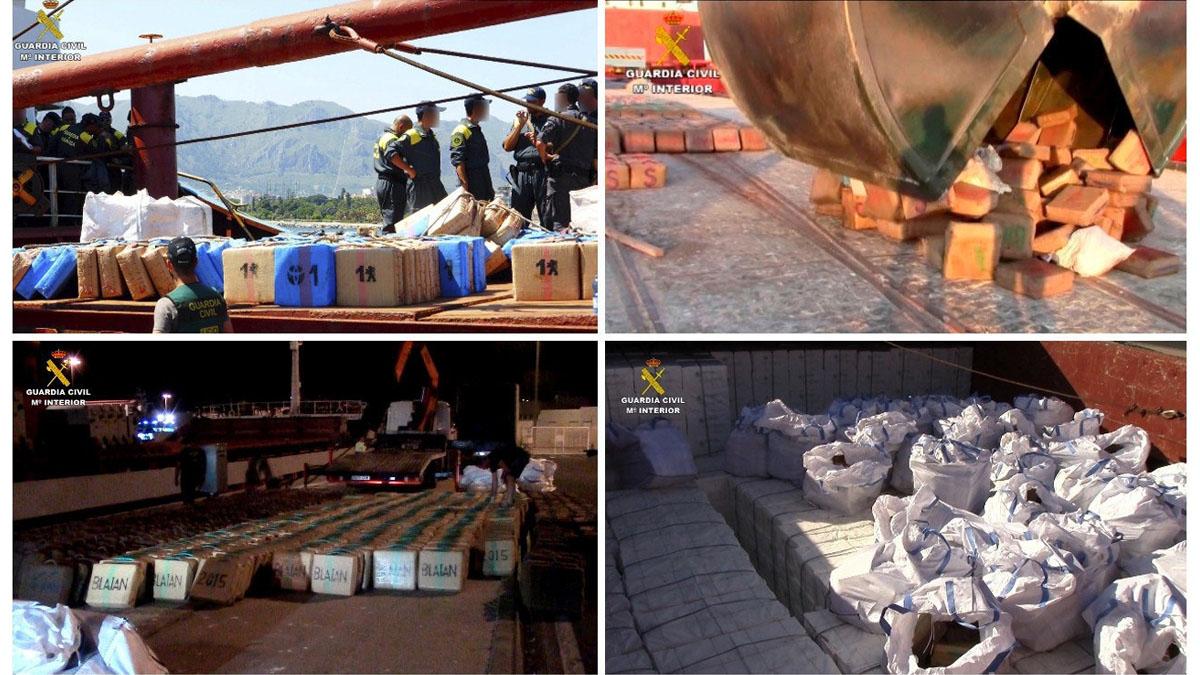 Imágenes difundidas por la Guardia Civil del alijo de droga capturado en el Mediterráneo. (Foto: EFE)