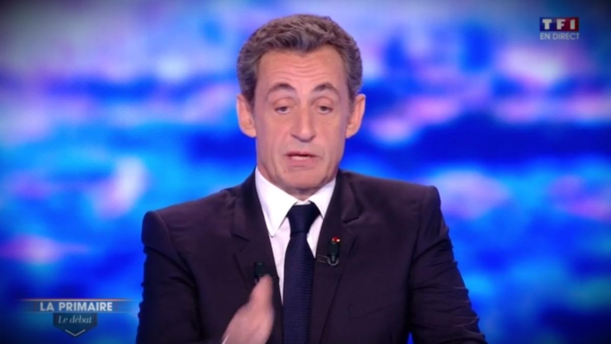 Nicolas Sarkozy durante un debate