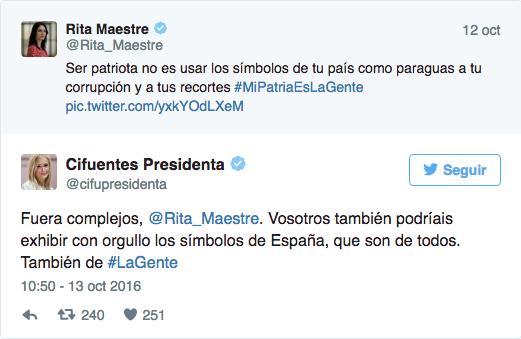 Cruce de 'tuits' entre Rita Maestre y Cristina Cifuentes.