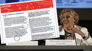 La alcaldesa Carmena en una ponencia junto al texto de CCOO. (Foto: EFE)