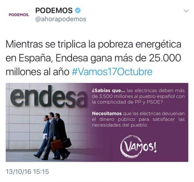 Pantallazo del tuit eliminado de Podemos