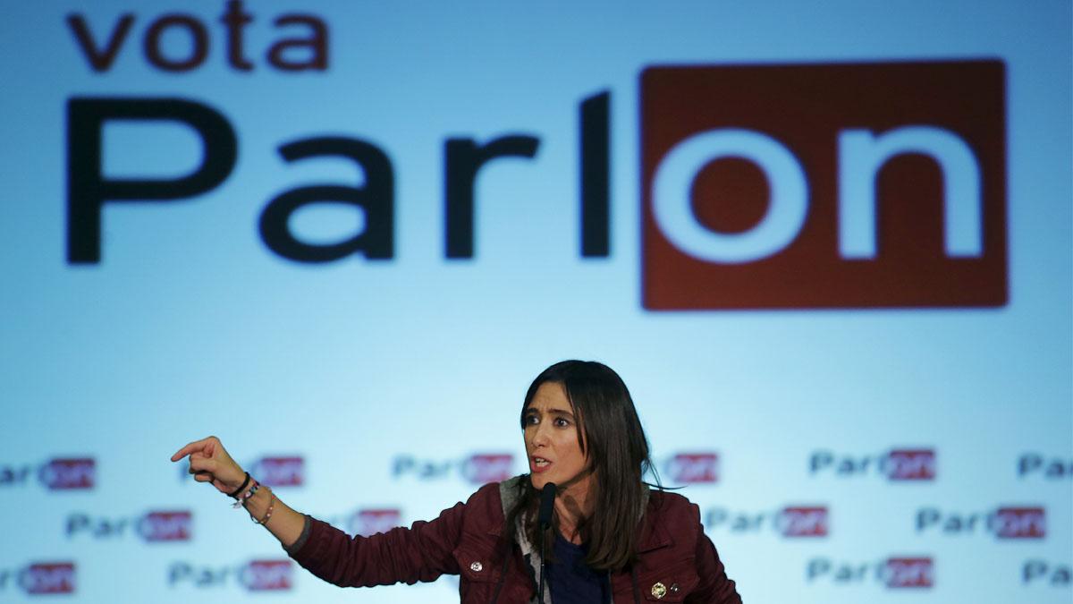 Núria Parlon durante el último acto de la campaña de las primarias del PSC. (Foto: EFE)