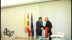 Mariano Rajoy y el secretario de Estado de la Santa Sede. (Foto: @marianorajoy)