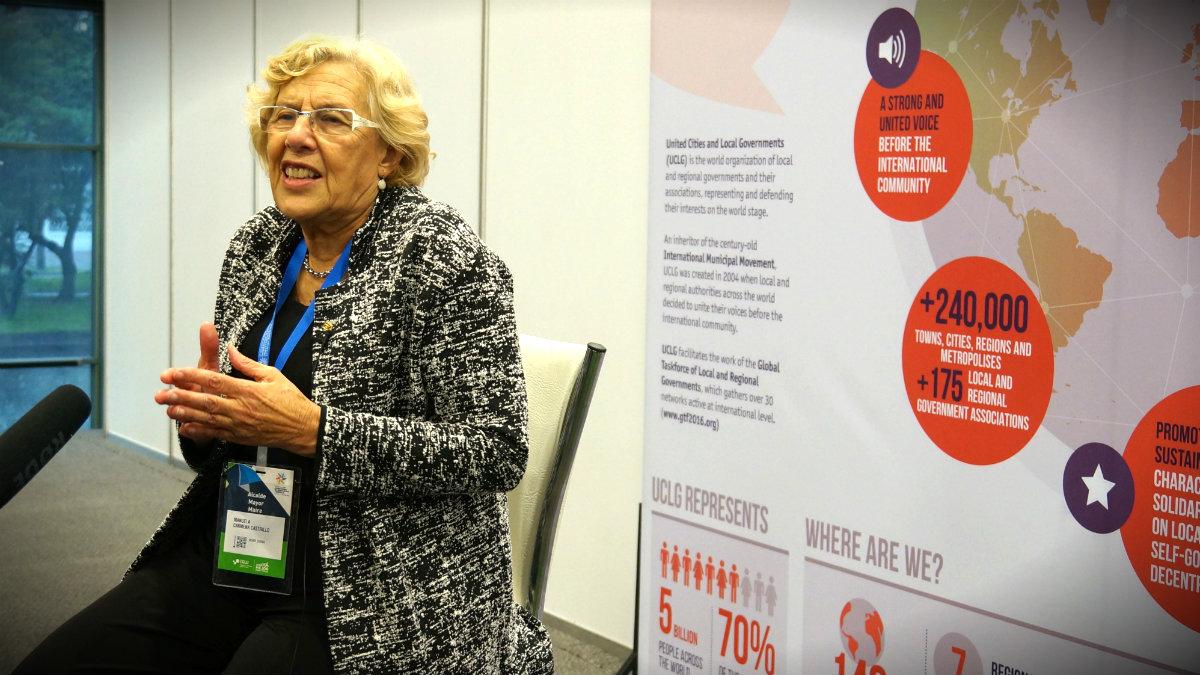 Manuela Carmena, en la cumbre de Bogotá. (C.S.)