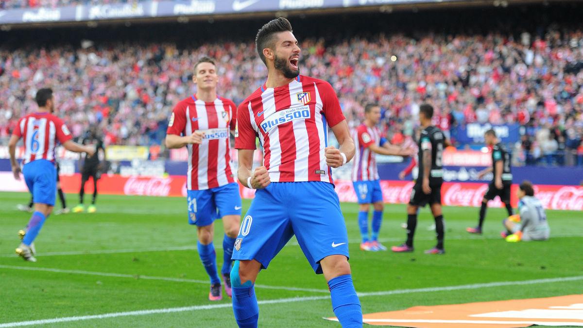 Carrasco lideró la goleada del Atlético con un hat-trick. (Getty)