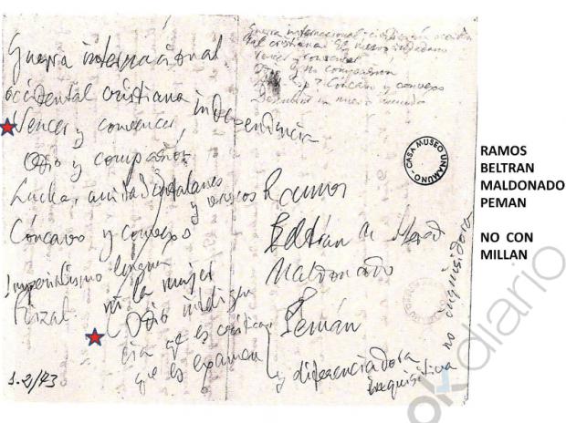 Escrito de Unamuno sobre el incidente en Salamanca que no cita a Milllán-Astray. (Clic para ampliar)