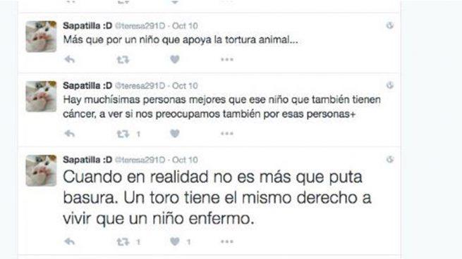 Otra animalista dice «un toro tiene el mismo derecho a vivir que un niño» y se ríe del cáncer de Adrián