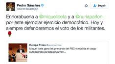 """El tuit de Pedro Sánchez reivindicando el """"voto de los militantes""""."""