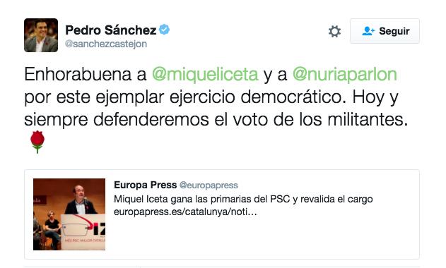 El tuit de Pedro Sánchez reivindicando el «voto de los militantes».