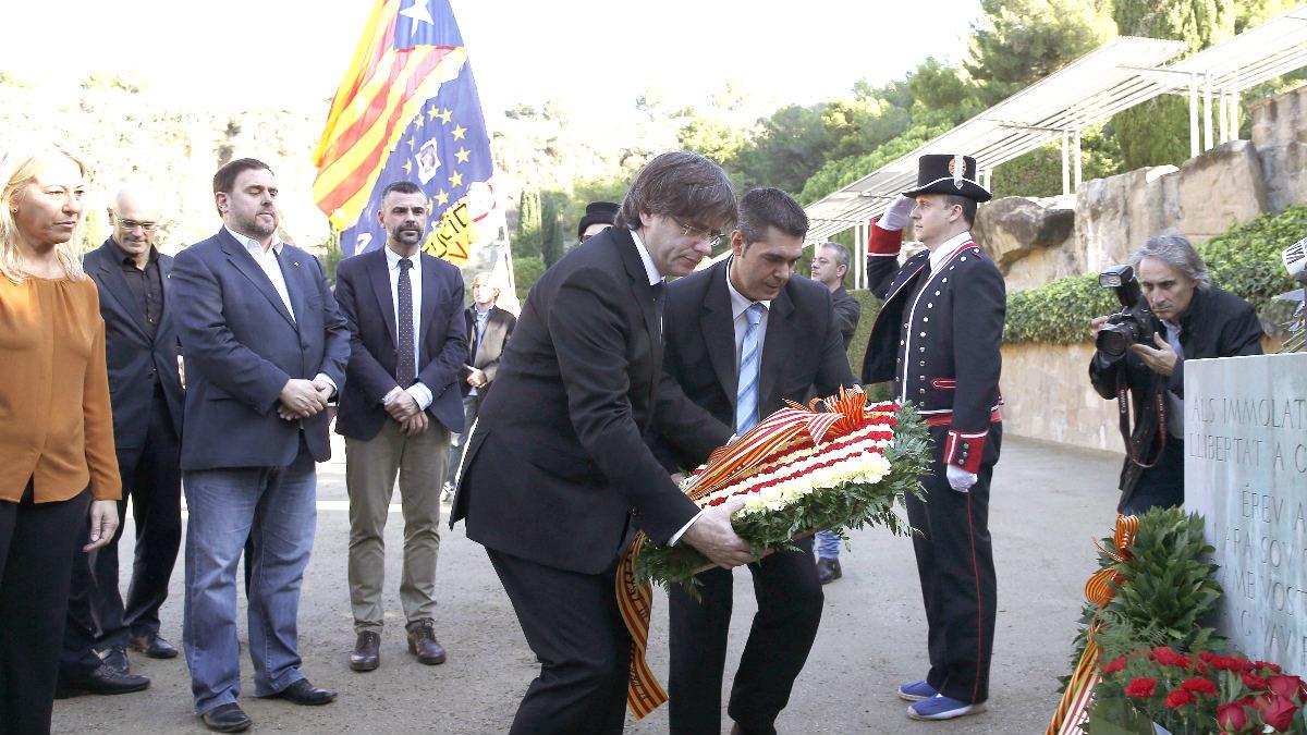 Puigdemont en el acto de homenaje a Companys (Foto: Efe).