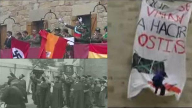 Montaje con tres de los momentos que representaron los abertzalez en los que equiparaban a la Guardia Civi, al Rey y alas Fuerzas Armadas con nazis.