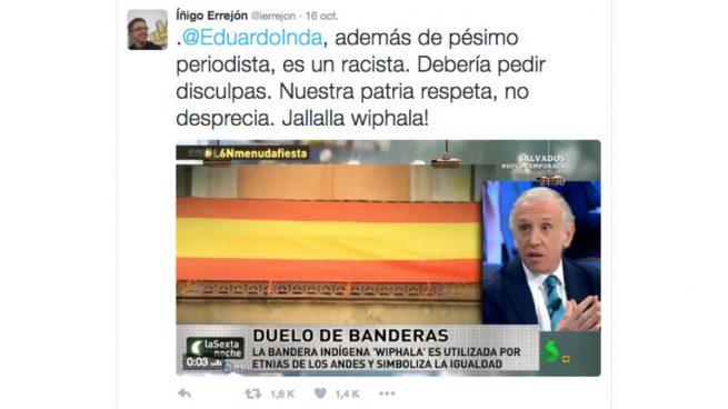 Errejón llama racista a Inda por decir que poner la bandera indígena en el Ayuntamiento de Madrid es una «chuminada»