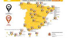 Este es el mapa publicado por el Ministerio de Interior en el que se detallan las operaciones policiales y detenidos contra el yihadismo en España desde 2012. INTERIOR