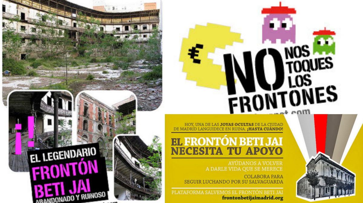 Varios carteles para la protección del histórico Frontón Beti-Jai. (Imágenes: FLICKR)
