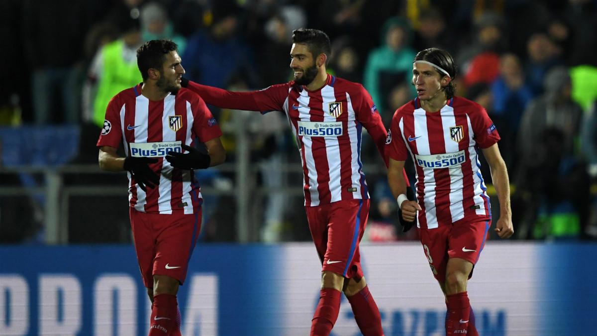 Carrasco celebra el gol que dio la victoria al Atlético en Rostov. (AFP)
