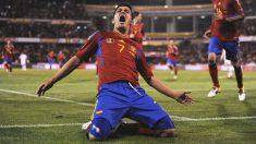Villa celebra un gol con la selección. (Getty)