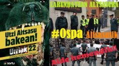 El cartel de la manifestación convocada por Sortu en Alsasua para este sábado 22 de octubre (izq.) e imágenes contra la Guardia Civil publicadas en Twitter (dcha.)