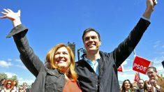 Natalia de Andrés y Pedro Sánchez, en la campaña de las municipales de Alcorcón en 2015. (PSOE)