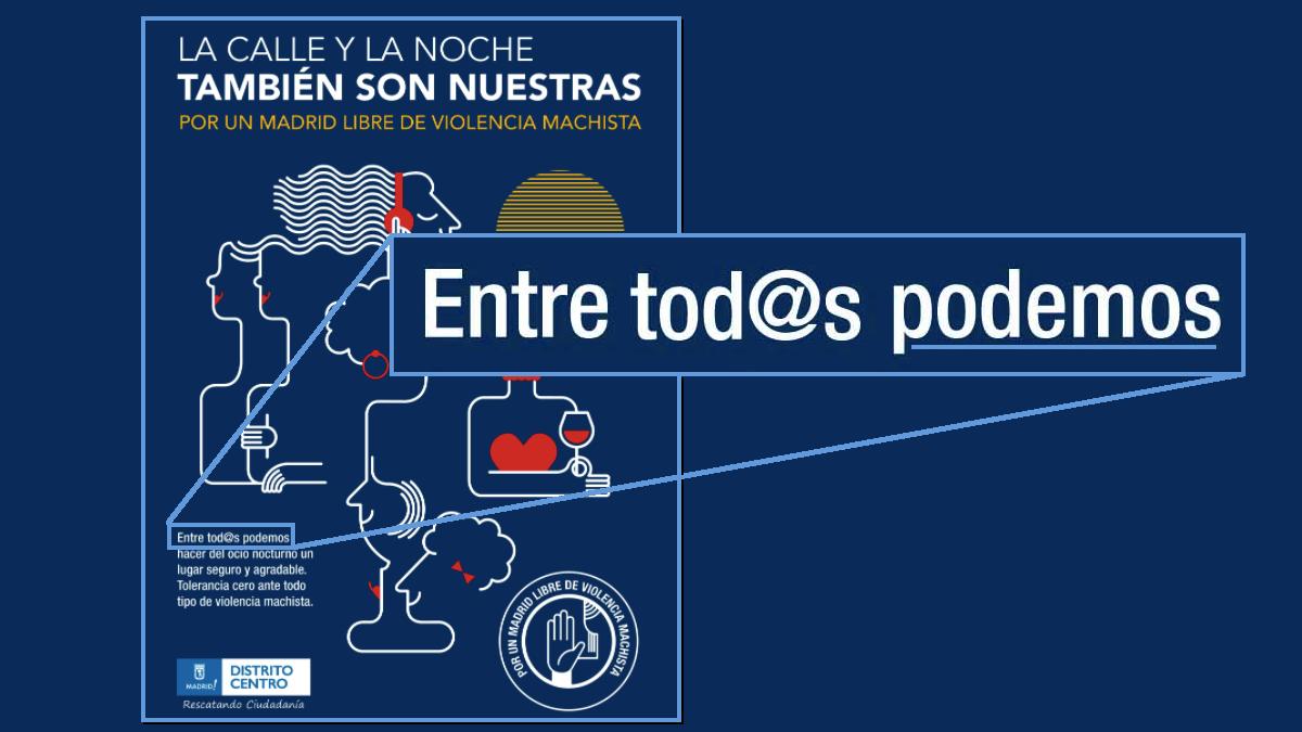 Cartel del Ayuntamiento de Madrid con lema de Podemos. (Clic para ampliar)