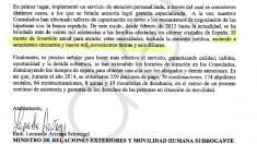 Escrito firmado por el ministro de Relaciones Exteriores de Ecuador, Leonardo Arizaga