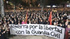 Manifestación en Pamplona de apoyo a los guardias civiles agredidos en Alsasua (Foto: Efe).