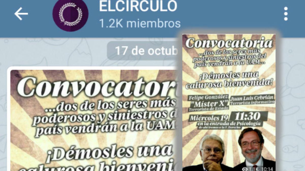 Convocatoria Podemos en Telegram