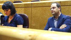 El diputado del PSOE César Luena (d) junto a su compañera en el Congreso María González (i) (Foto: Efe)